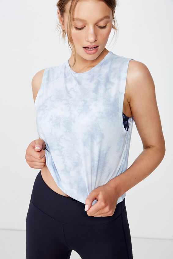 Cropped Active Muscle Tank, BABY BLUE TIE DYE