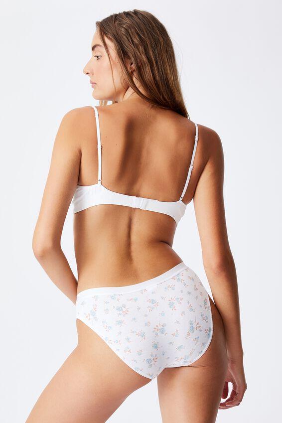 Cotton Bikini Brief, ROSE FLORAL WHITE