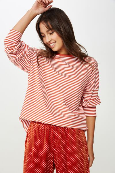 Ls Drop Shoulder Jersey Top, FREDDIE FEEDER STRIPE TANDOORI