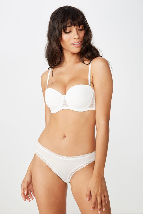 Smooth Lace Contour Strapless Bra, CREAM