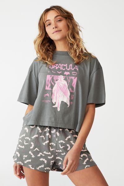 Jersey Chopped Baby T-Shirt, LCN UNI DRACULA/WASHED CHARCOAL
