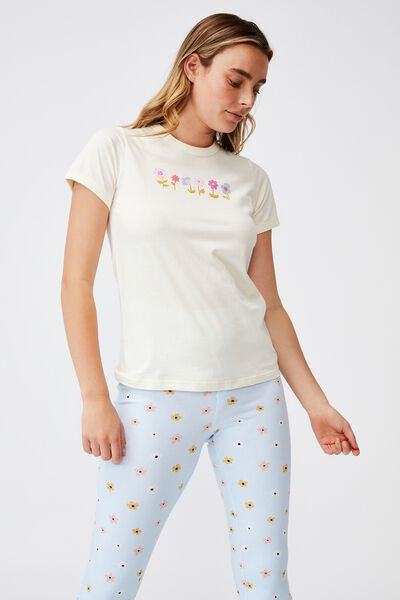 Ringer Sleep T-Shirt, FLOWER SPRIGS ALMOND BUTTER