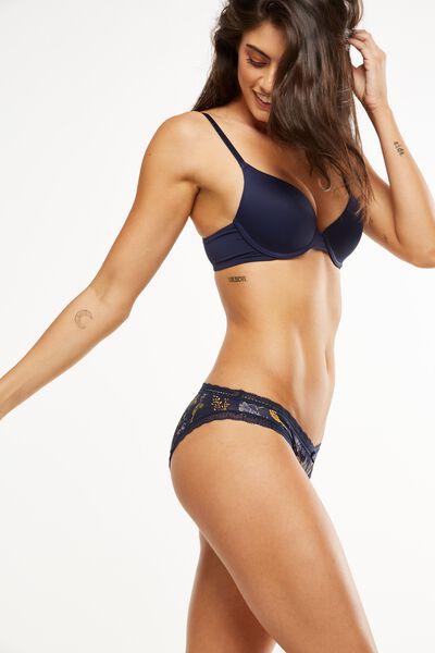 Smooth Lace Trim Bikini Brief, MIDNIGHT ORNATE HARVEST