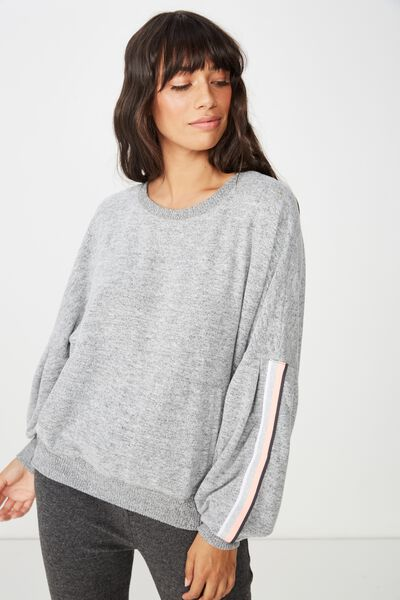 Supersoft Bubble Sleeve Top, GREY MARLE/STRIPE