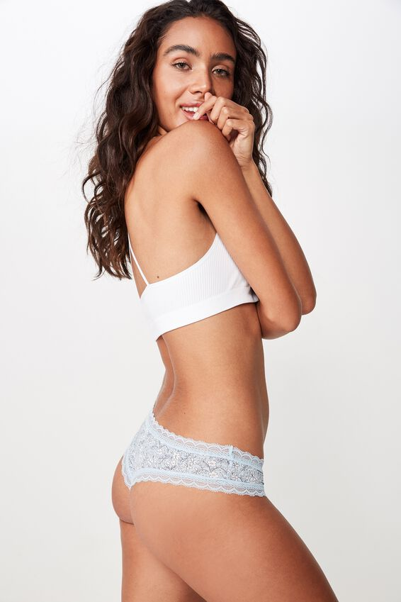 Smooth Lace Trim Brasiliano Brief, PRAIRIE DITSY BLUE