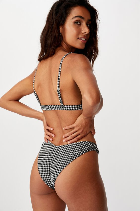 Fixed Triangle Bikini Top, BLACK AND WHITE GINGHAM