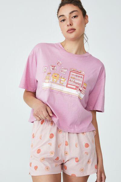 License Chopped Baby T-Shirt And Short Set, LCN KAKAO/PEACH SET