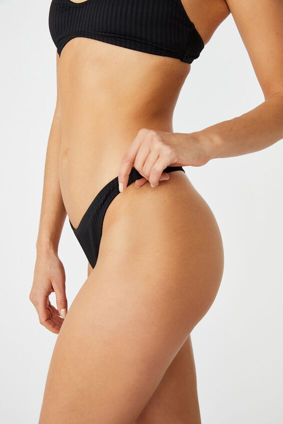 High Side Thong Bikini Bottom, BLACK RIB 20