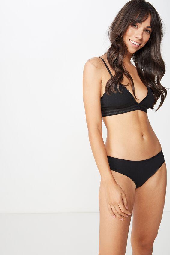 Cotton Flat Elastic Bikini Brief, BLACK