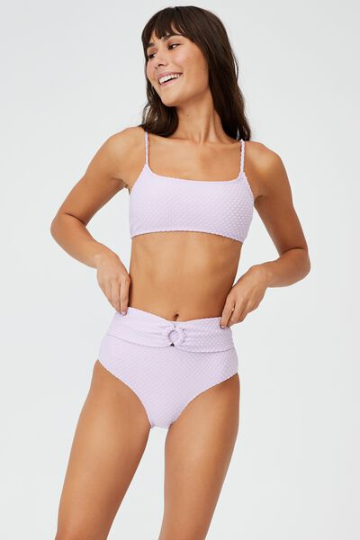 Straight Neck Bralette Bikini Top Terry, VIOLET TERRY SPOT