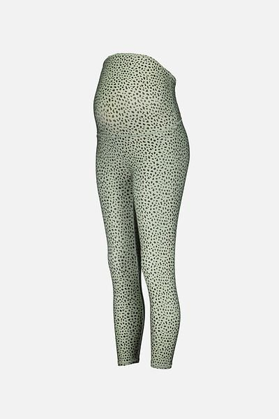 Maternity Ultimate Studio 7/8 Tight, SPECKLE SPOT/ANIMAL GREEN