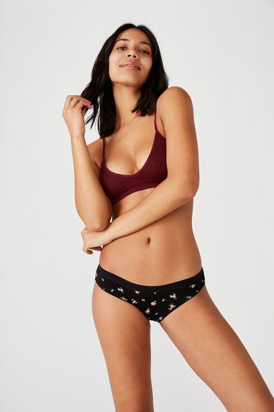 Cotton Bikini Brief, ROSE GARDEN DITSY BLACK