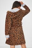 Luxe Plush Gown, LEOPARD MINI TEXTURED