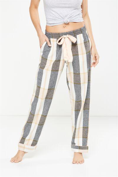 Non Cuffed Flannel Pant, WINTER WHITE CHECK