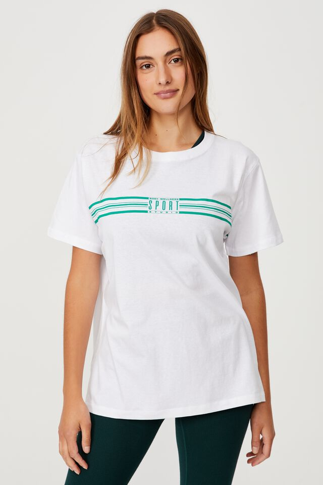 Active Organic Tshirt, RETRO SPORT WHITE