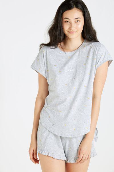 Match Back Short Sleeve Tie Top, GREY MARLE/BANANA