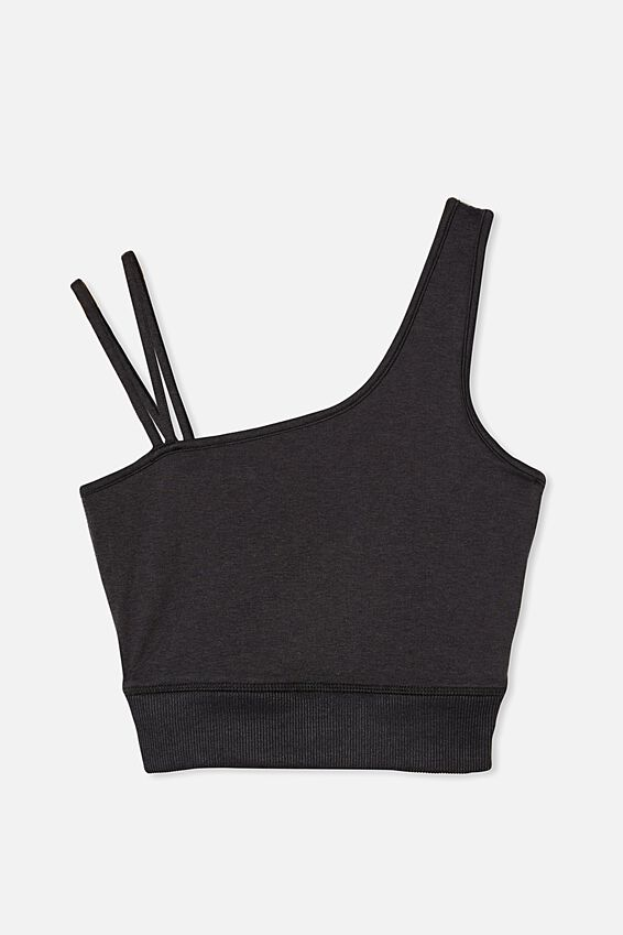 Run With It One Shoulder Vestlette, BLACK MARLE