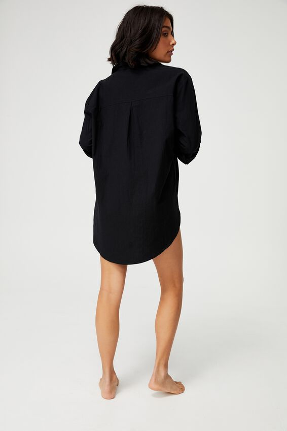 Oversized Beach Shirt, BLACK
