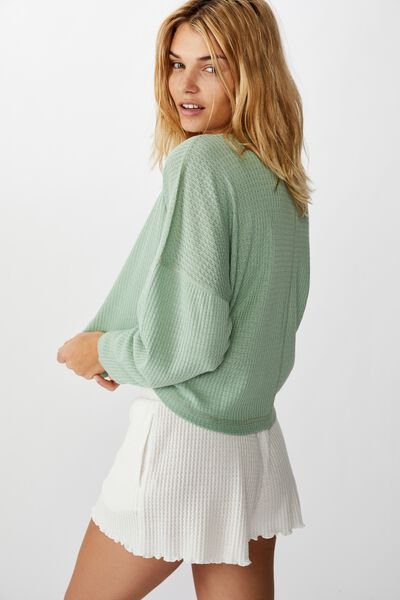 Soft Waffle Sleep Top, SMOKE GREEN