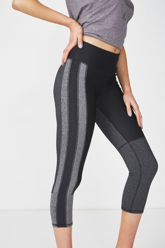 Colour Blocked Crop Tight, BLACK/CHARCOAL MARLE