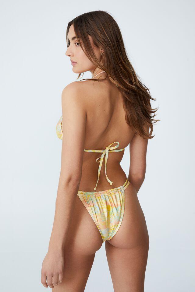 Gathered Double Strap Brazilian Bikini Bottom, HAWAIIAN YELLOW SHIMMER