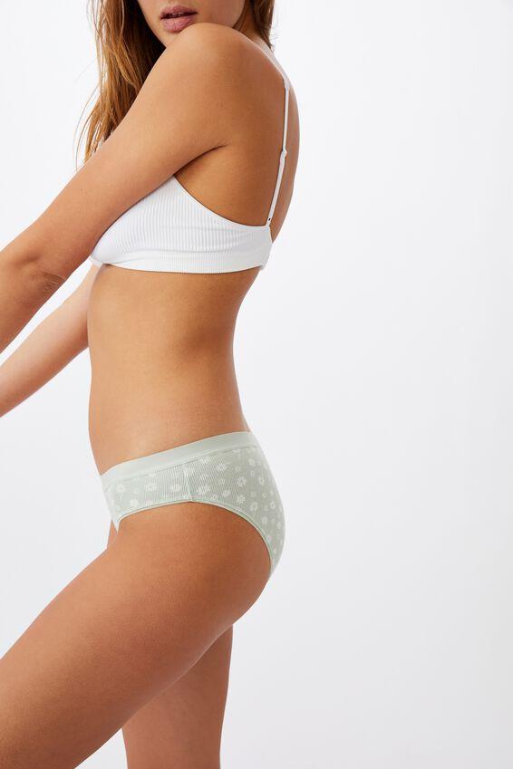 Cotton Bikini Brief, SILHOUETTE DAISY MINT CHIP