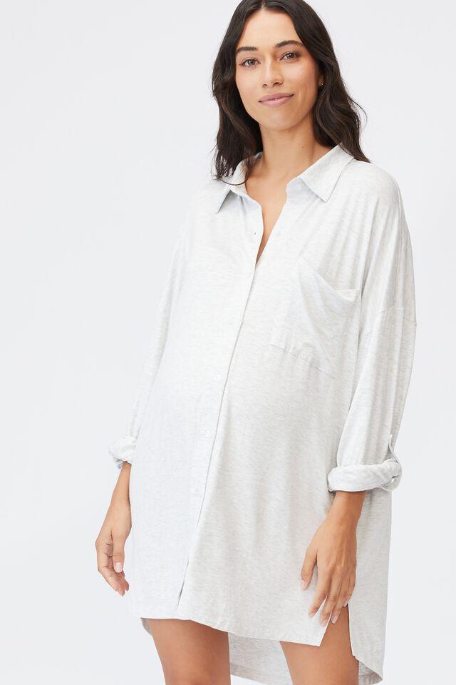 Sleep Recovery Maternity Night Shirt, SOFT GREY MARLE