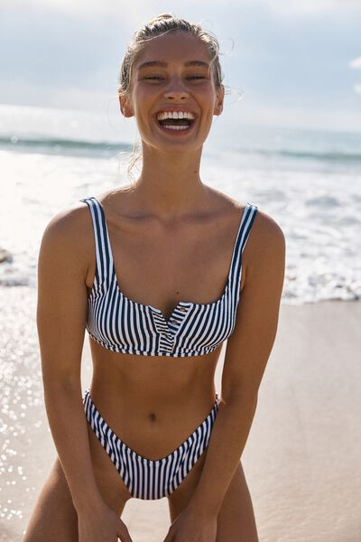 Henley Scoop Crop Bikini Top, BLUE STRIPE
