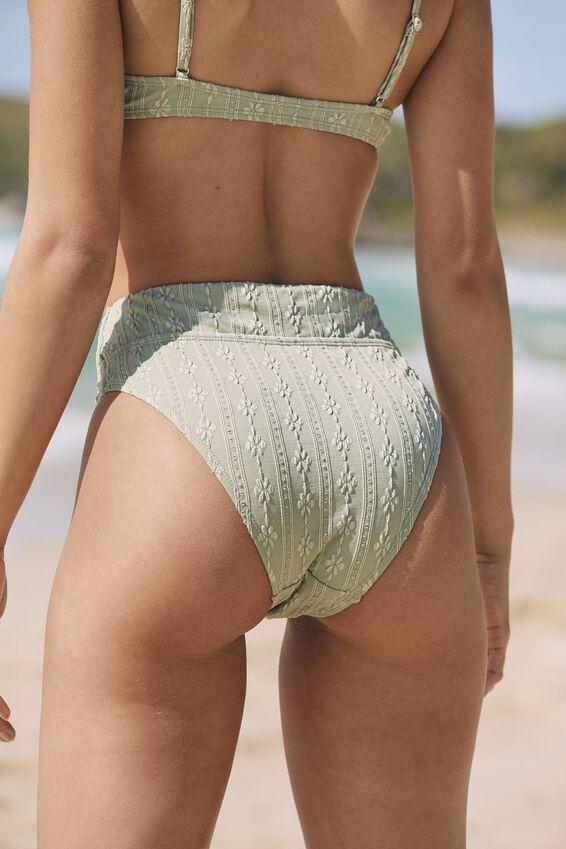 Highwaisted Cheeky Bikini Bottom, KHAKI BROIDERIE