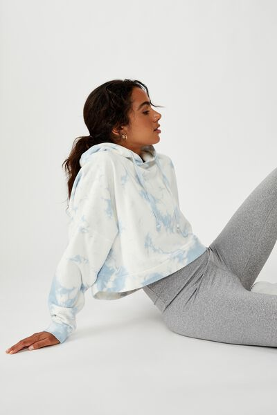 Cropped Fleece Hoodie, BLUE TIE DYE