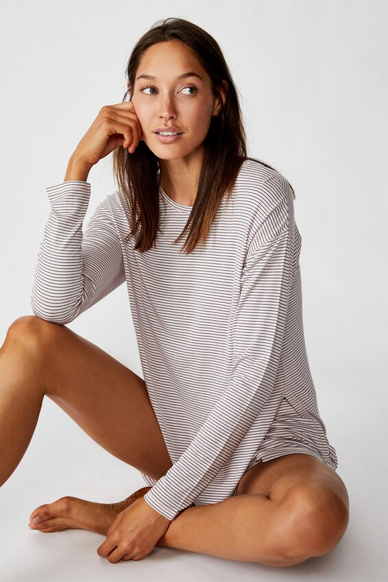 Sleep Recovery Long Sleeve Top, PALE LILAC MARLE STRIPE