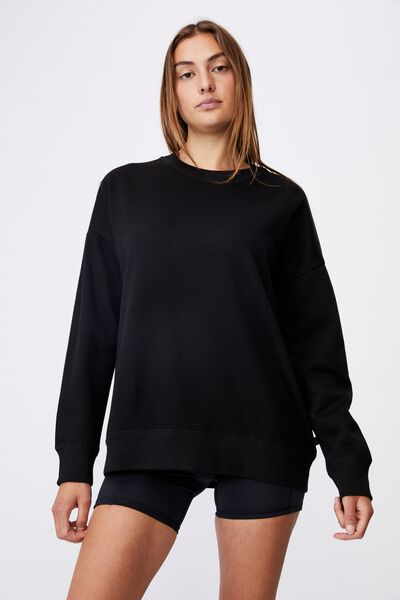 Lifestyle Long Sleeve Crew Top, BLACK