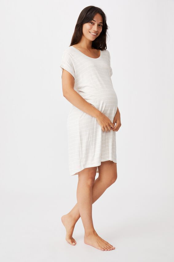 Sleep Recovery Maternity Nightie, PORRIDGE STRIPE