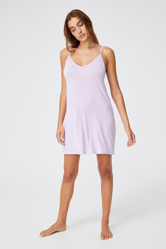 Sleep Recovery V Neck Nightie, PASTEL LILAC