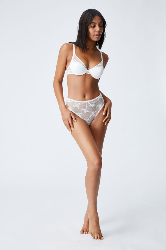 Cherry Blossom High Cut Cheeky Bikini Brief, CREAM