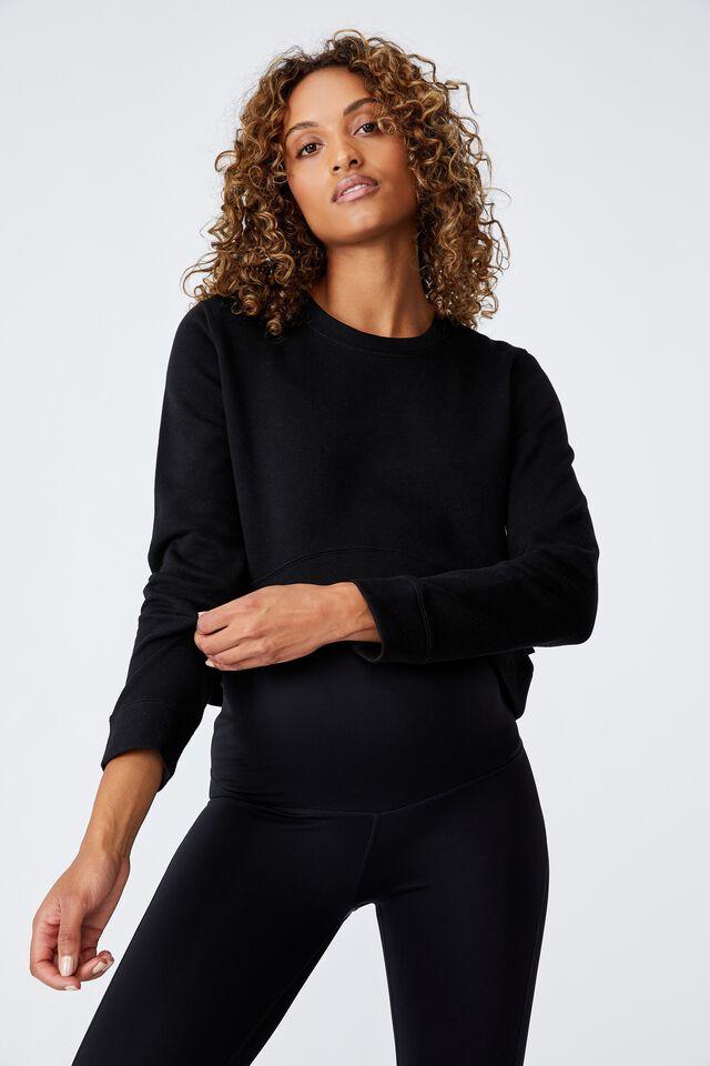 Maternity Lifestyle Fleece Crew, BLACK