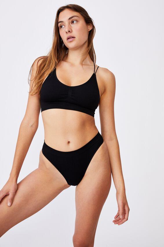 Seamfree High Cut Cheeky Bikini Brief, BLACK