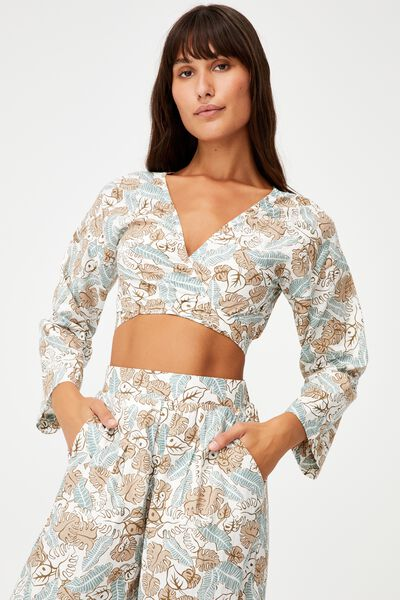 Tie Front Beach Top, FLOWING FOLIAGE