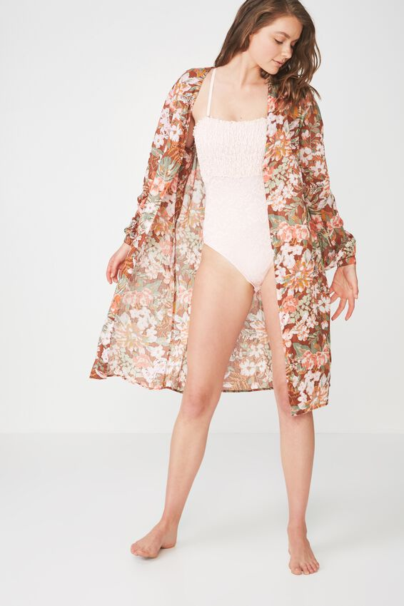 Woven Textured Robe, ELEVATED BLOOM/HAZEL