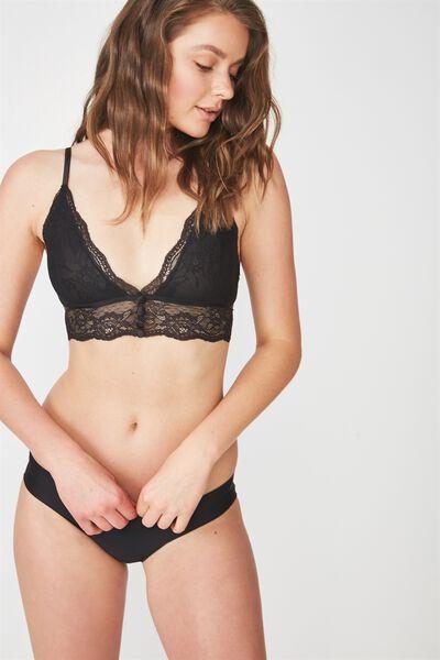 Emily Button Longline Bralette, BLACK