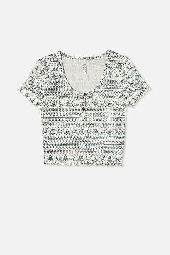 Henley Waffle Sleep T-Shirt, CHRISTMAS FAIR ISLE BASIL GREEN