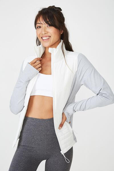 Active Slimline Puffer Jacket, GREY MARLE/WHITE