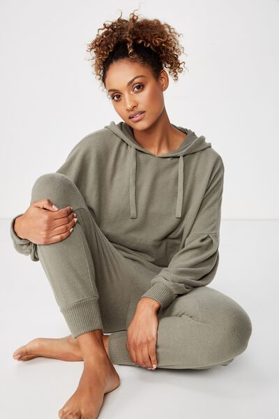 Supersoft Cropped Hoodie, COOL AVOCADO MARLE