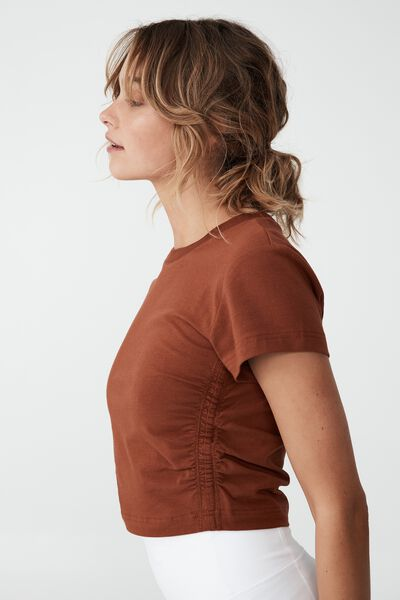 Side Gathered T Shirt, GINGER SNAP