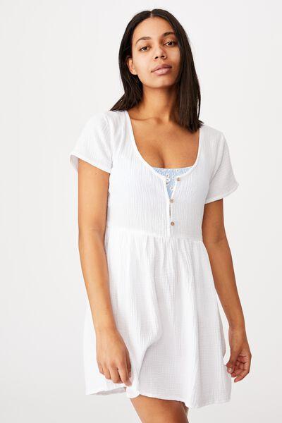 Button Up Beach Dress, WHITE