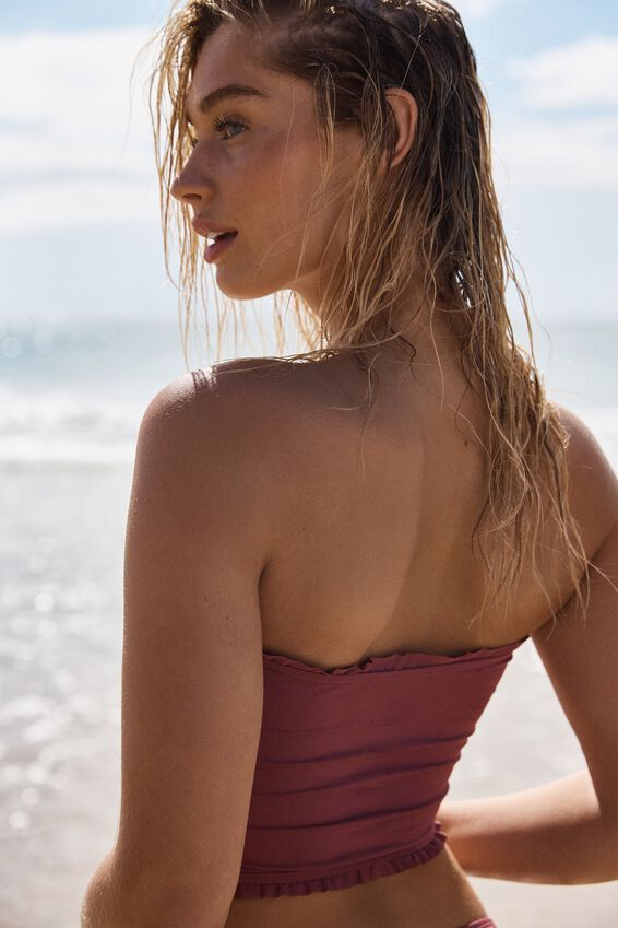 Shirred Longline Bandeau Bikini Top, ROSE SANGRIA SHIRRED