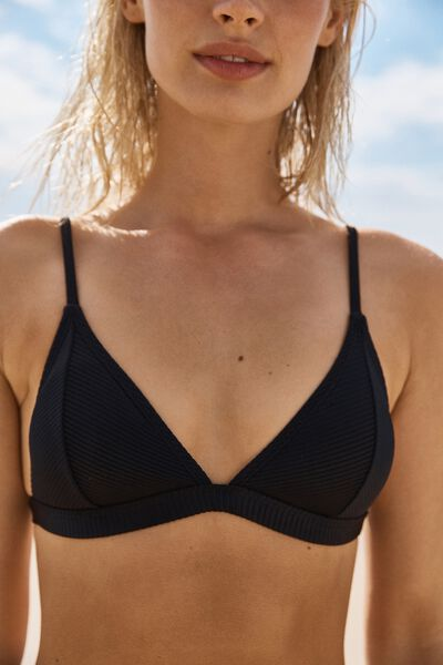 Fixed Triangle Bikini Top, BLACK RIB