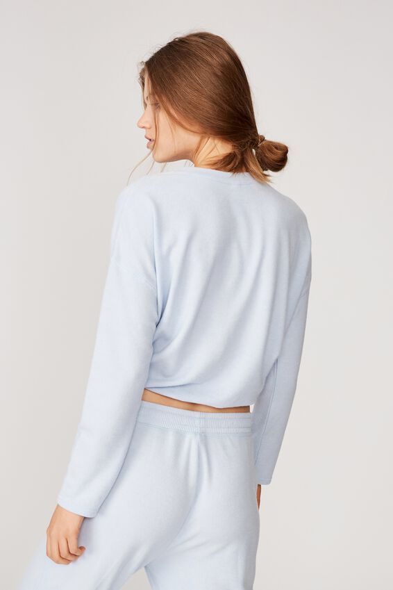 Super Soft Draw Cord Crew, SOFT BLUE MARLE