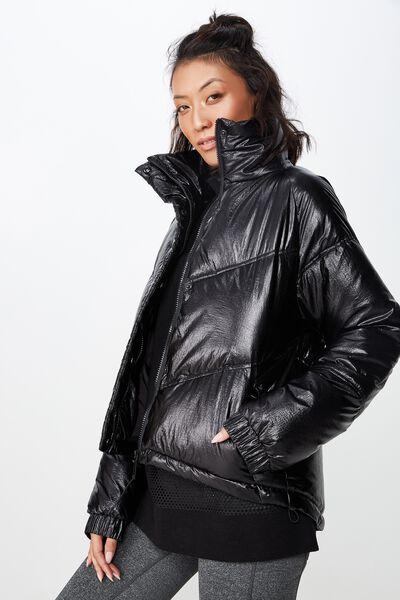 Hiking Puffer Jacket, PATENT BLACK