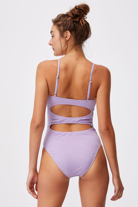 Gathered One Piece Cheeky Jacquard, ORCHID MIST JACQUARD